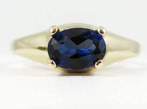 Blue Sapphire Oval 14k Yellow Gold Dome Ring, Solid 14 Karat Gold Ring, September Birthstone Ring, Blue Sapphire Oval Ring, Blue Sapphire