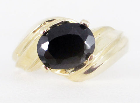 Black CZ 14k Yellow Gold Oval Ring, Solid 14 Karat Gold Ring, 14k Gold Black Cz Ring, Black CZ Oval Ring, 14k Gold Ring
