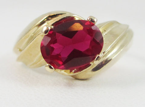 Ruby Oval 14k Yellow Gold Ring, July Birthstone Ring, 14k Gold Ruby Ring, Solid 14 Karat Gold Ring, Oval Ruby Ring