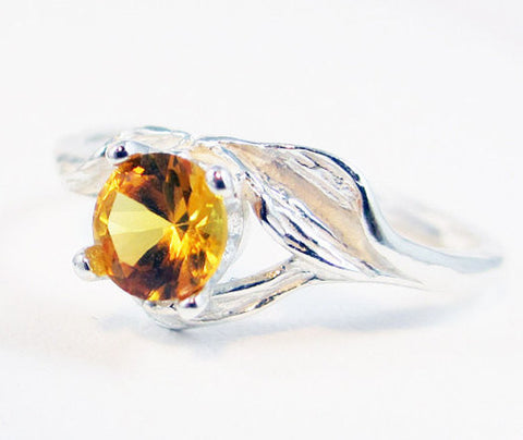 Yellow Sapphire Leaf Ring Sterling Silver, September Birthstone Ring, 925 Yellow Sapphire Ring, Sterling Leaf Ring, 925 Sterling Ring