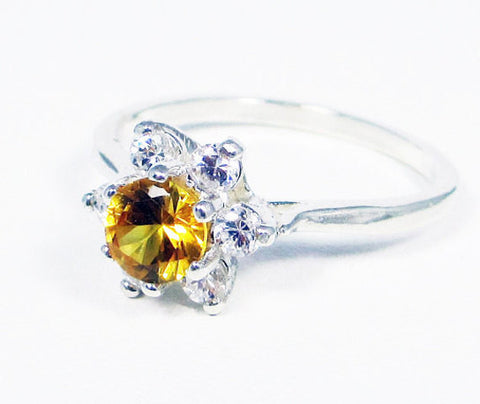 Yellow Sapphire Halo Ring Sterling Silver, September Birthstone Ring, 925 Yellow Sapphire Ring, 925 Sterling Silver Ring, Yellow Sapphire