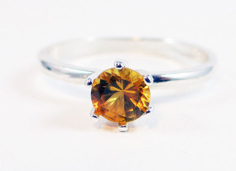 Sterling Silver Yellow Sapphire Solitaire Ring, September Birthstone Ring, Sapphire Solitaire Ring, Yellow Sapphire Ring, 925 Sterling Ring