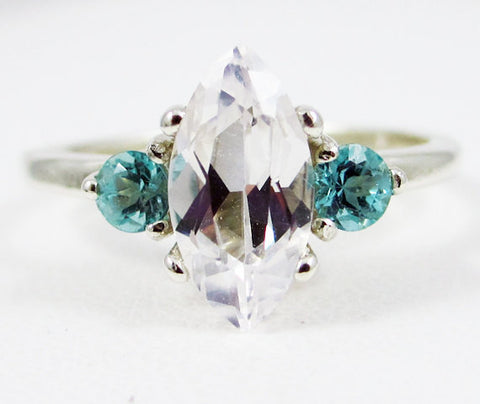 White Sapphire Marquis and Apatite Accent Ring Sterling Silver, September Birthstone Ring, Marquis Ring, Apatite Accent Ring, 925 Ring