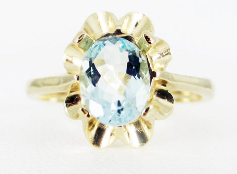 Aquamarine 14k Yellow Gold Oval Crown Ring, March Birthstone Ring, Solid 14 Karat Gold Ring, 14k Gold Natural Blue Oval Aquamarine Ring
