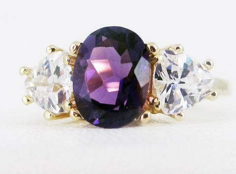 Amethyst Oval and Trillion 14k Yellow Gold Ring
