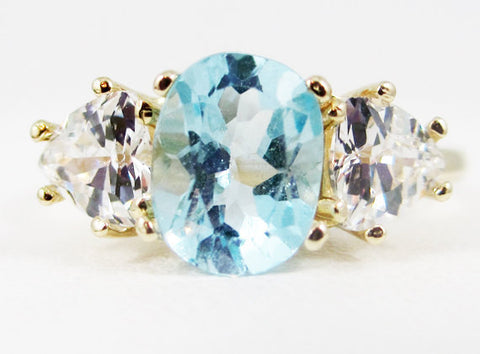 Sky Blue Topaz Oval and Trillion 14k Yellow Gold Ring, Solid 14 Karat Gold Ring, December Birthstone Ring, Oval Blue Topaz Three Stone Ring