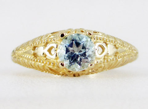 Sky Blue Topaz 14k Yellow Gold Filigree Ring, Solid 14 Karat Gold Ring, Sky Blue Topaz Filigree Ring, 14k Gold Solitaire Ring