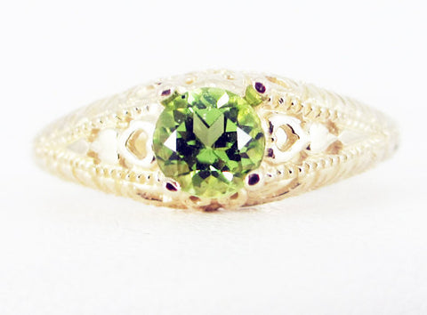 Peridot 14k Yellow Gold Filigree Ring, Solid 14 Karat Gold Ring, August Birthstone Ring, Peridot Filigree Ring, 14k Gold Filigree Ring