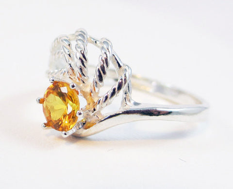 Yellow Sapphire Swirl Ring Sterling Silver, September Birthstone Ring, Sterling Twist Ring, Yellow Sapphire Ring, 925 Yellow Sapphire