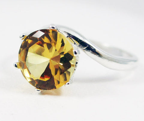 Yellow Sapphire Solitaire Bypass Ring Sterling Silver, September Birthstone Ring, Silver Sapphire Ring, Yellow Sapphire Ring, 925 Ring