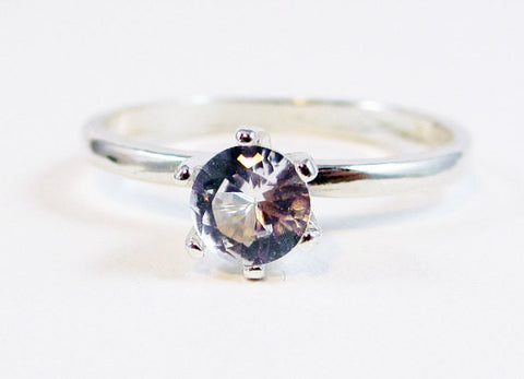 White Sapphire Ring Sterling Silver, September Birthstone Ring, White Sapphire Solitaire Ring, 925 Sterling Solitaire Ring, 925 Ring