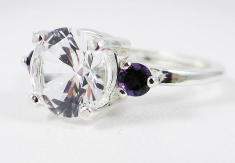 White Sapphire and Amethyst Ring Sterling Silver, September Birthstone Ring, February Birthstone Ring, Amethyst Accent Ring, 925 Ring