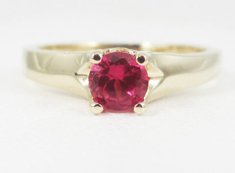Ruby 14k Yellow Gold Tulilp Solitaire Ring, Solid 14 Karat Gold Ring, July Birthstone Ring, 14k Gold Ruby Ring, Ruby Solitaire Ring