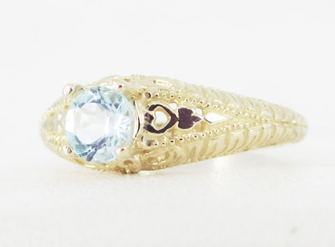 sky blue topaz 14k yellow gold filigree ring solid 14 karat gold ring sky