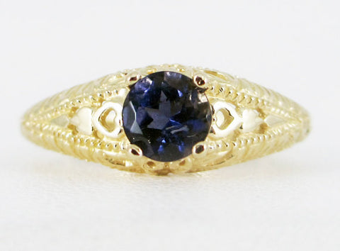 Iolite 14k Yellow Gold Filigree Ring, Water Sapphire Ring, Solid 14 Karat Gold Ring, 14k Gold Iolite Ring, Iolite Filigree Ring