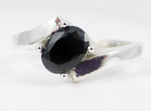 Black CZ Offset Oval Ring Sterling Silver, Cubic Zirconia Ring, Black CZ Ring, Sterling Silver Oval Ring, Black CZ Oval Ring, 925 Ring