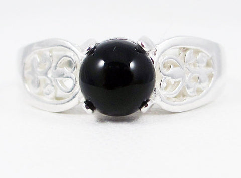 Black Onyx Round Cabochon Filigree Ring Sterling Silver, 925 Black Onyx Ring, Sterling Silver Filigree Ring, Black Onyx Cabochon, 925 Ring
