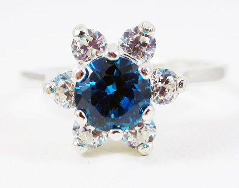 Swiss Blue CZ Halo Ring Sterling Silver, Cubic Zirconia Ring, Sterling Silver CZ Ring, 925 CZ Ring, Blue Cz Halo Ring