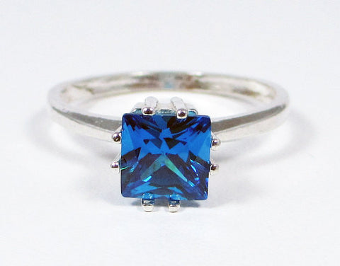Princess Cut Blue CZ Ring Sterling Silver, Cubic Zirconia Ring, Square Cut Blue CZ Ring, Sterling Silver Blue CZ Ring, 925 Cz Ring
