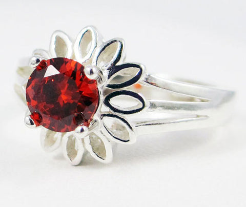 Orange CZ Sunflower Ring Sterling Silver, Cubic Zirconia Ring, Sterling Silver Sunflower Ring, Orange CZ Ring, 925 Sterling Silver Ring