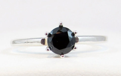 Black CZ Solitaire Ring Sterling Silver, Cubic Zirconia Ring, Black CZ Ring, 925 Black CZ Ring, Solitaire Ring