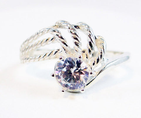 White CZ Swirl Ring Sterling Silver, Cubic Zirconia Ring, Sterling Silver Cz Ring, 925 Cz Ring, Sterling Silver Ring