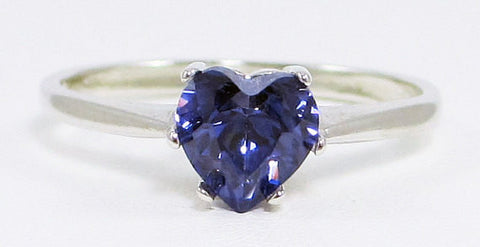 Tanzanite CZ Heart Ring Sterling Silver, Cubic Zirconia Ring, Sterling Silver Cz Ring, 925 Cz Ring, Purple Heart Ring
