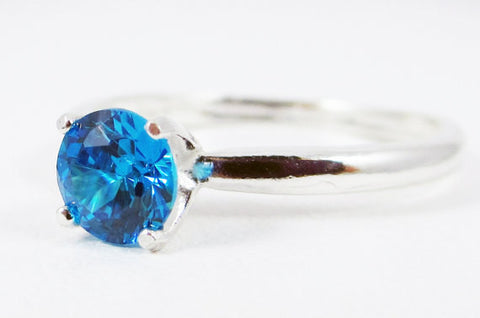 Swiss Blue CZ Solitaire Ring Sterling Silver, Cubic Zirconia Ring, Sterling Silver Cz Ring, 925 Cz Ring, Blue Solitaire Ring