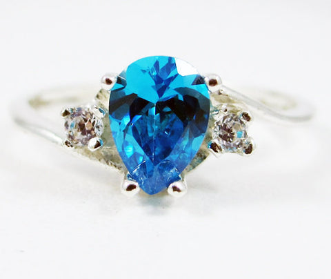 Swiss Blue CZ Pear Ring Sterling Silver, Cubic Zirconia Ring, Sterling Silver Cz Ring, 925 Cz Ring, Blue Pear Ring