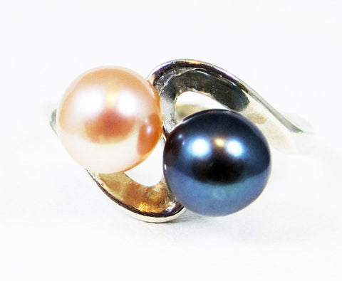 Peach and Black Double Pearl Ring, 925 Sterling Silver, June Birthstone Ring, Peach Pearl Ring, Black Pearl Ring, Freshwater Pearl Ring