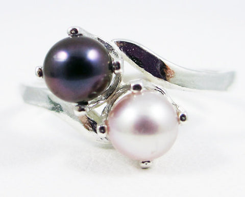 Pink and Black Double Pearl Ring, 925 Sterling Silver, June Birthstone Ring, Black Pearl Ring, Pink Freshwater Pearl Ring, Two Stone Ring