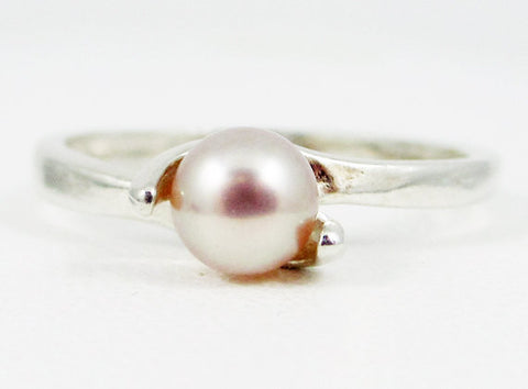 Pink Pearl Ring, Sterling Silver 925, June Birthstone Ring, Pink Freshwater Pearl Ring, Natural Pearl Ring, Genuine Pink Pearl Ring, SS Ring