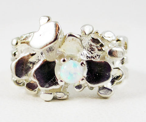 Opal Nugget Ring Sterling Silver, White Opal Ring, 925 Sterling Silver White Opal Ring, Ethiopian Opal Ring, Natural Opal Ring