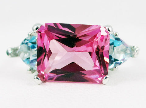 Pink Sapphire and Aquamarine Trillion Ring Sterling Silver, March and September Birthstone Ring, Emerald Cut Pink Sapphire Ring