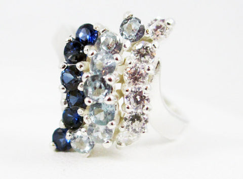 Blue Sapphire, Aquamarine, and White CZ Waterfall Ring Sterling Blue Sapphire, Aquamarine, and White CZ Waterfall Ring Sterling