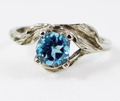 14k White Gold Swiss Blue Topaz Leaf Ring, Solid 14 Karat Gold Ring, 14k White Gold Ring, White Gold Blue Topaz Ring, December Birthstone
