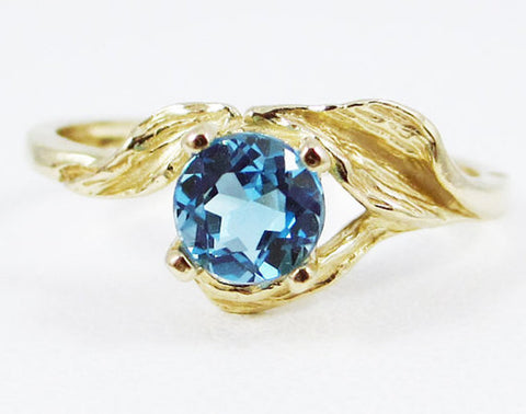 14k Yellow Gold Swiss Blue Topaz Leaf Ring, Solid 14 Karat Gold Ring, December Birthstone Ring, Yellow Gold Ring, 14k Swiss Blue Topaz Ring