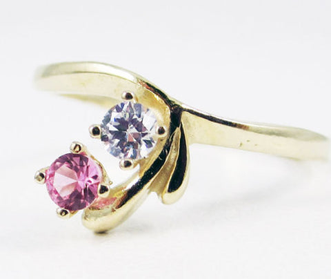 Pink Sapphire and White CZ Ring 14k Yellow Gold, Two Stone Ring, 14k Pink Sapphire Ring, Solid 14 Karat Gold Ring, April Birthstone Ring