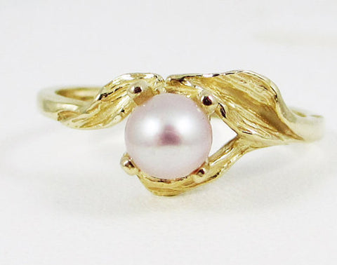 14k Yellow Gold Pink Freshwater Pearl Leaf Ring, Solid 14 Karat Gold Ring, Pink Freshwater Pearl Ring, 14k Pink Pearl Ring, June Birthstone