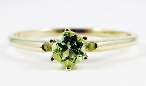 14k Yellow Gold Peridot Solitaire Ring, August Birthstone Ring, Solid 14 Karat Gold Ring, Yellow Gold Peridot Ring, 14k Gold Ring