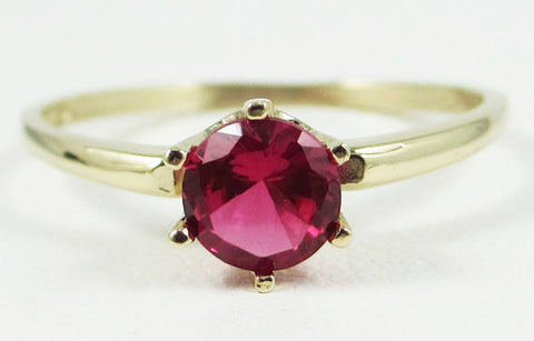 14k Yellow Gold Ruby Solitaire Ring, July Birthstone Ring, Yellow Gold Ruby Solitaire Ring, Solid 14 Karat Gold Ring, 14k Ruby Ring