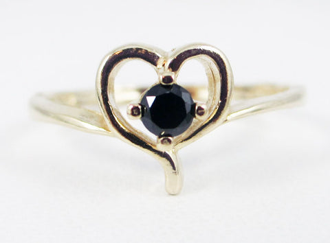 Black CZ Petite Heart Ring 14k Yellow Gold, Solid 14 Karat Gold Ring, 14k Black CZ Ring, Yellow Gold Ring, Gold Heart Ring, 14k Gold Ring