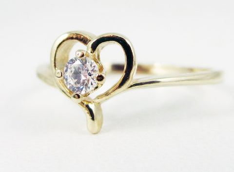 White CZ Petite Heart Ring 14k Yellow Gold, Solid 14 Karat Gold Ring, 14k Gold Heart Ring, April Birthstone Ring, 14k Yellow Gold Heart Ring