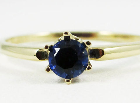14k Yellow Gold Blue Sapphire Solitaire Ring, Solid 14 Karat Gold Ring, September Birthstone Ring, Blue Sapphire Ring, 14k yellow gold Ring