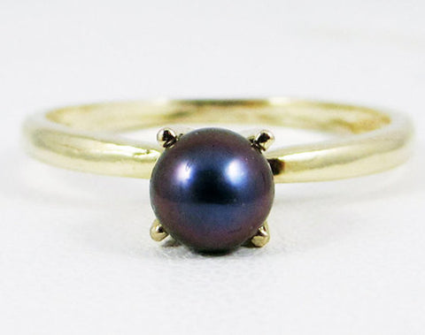 14k Yellow Gold Black Freshwater Pearl Ring, Solid 14 Karat Gold Ring, Black Pearl Ring, June Birthstone Ring, 14k Black Pearl Solitaire
