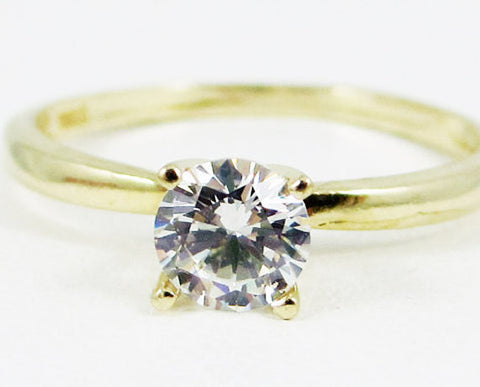 14k Yellow Gold CZ Solitaire Ring, Solid 14 Karat Gold Ring, 14k Gold Engagement Ring, Yellow Gold CZ Ring, April Birthstone Ring
