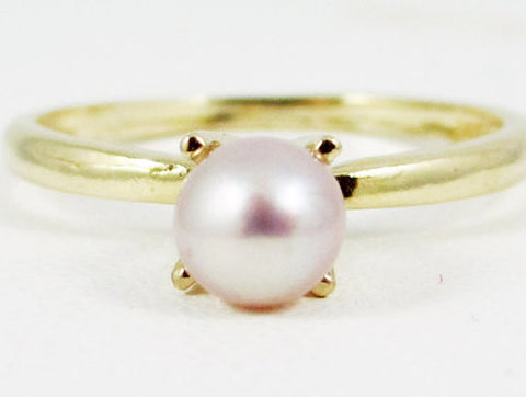 14k Yellow Gold Pink Freshwater Pearl Ring, Solid 14 Karat Gold Ring, Pink Pearl Solitaire Ring, June Birthstone Ring, Pink Pearl Ring