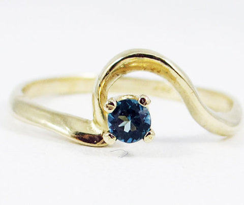 London Blue Topaz Ring 14k Yellow Gold, December Birthstone Ring, Solid 14 Karat Gold Ring, London Blue Topaz Ring, 14k Gold Topaz Ring