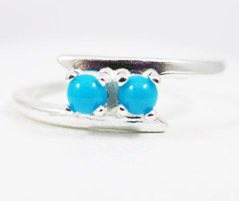 Sleeping Beauty Turquoise Two Stone Ring Sterling Silver, December Birthstone Ring, Sleeping Beauty Turquoise Ring, Natural Turquoise Ring