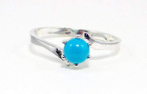 Sleeping Beauty Turquoise Bypass Ring Sterling Silver, December Birthstone Ring, Sleeping Beauty Turquoise Ring, Turquoise Solitaire Ring